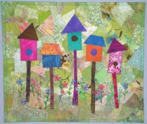 Birdhouses - collaged background