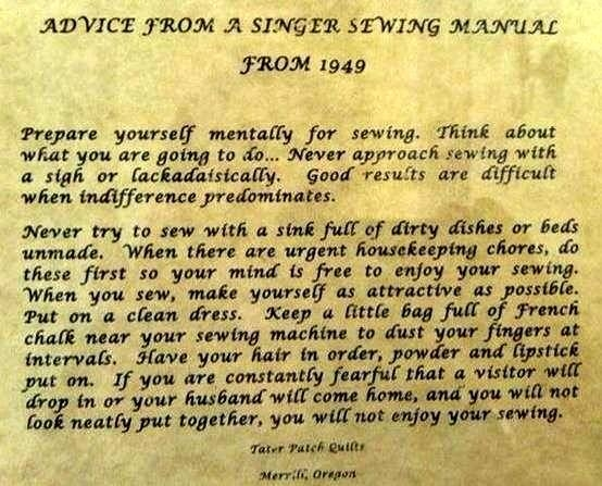 Advice from a Singer Sewing Machine Manual 1949
