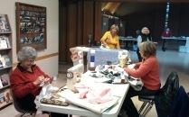 Lynne, Elaine, Les, Linda, Community Quilt Day
