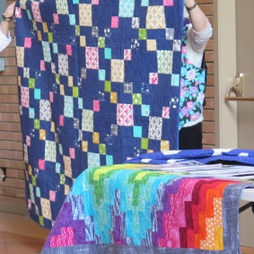 note irregular bargello technique in quilt on table