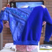 Eleanor's top made with fabric and fleece