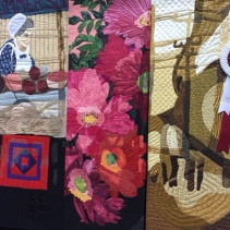 """Partial - Slices of Market Life by Margaret Notar, Waterloo, Ontario ... """"a quilted tribute"""" to a burned marketplace."""
