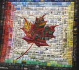 "From the World to Canada by Anita Payne, Perth, Ontario. Made of clothing labels with place names ""to represent the global origins of people and products that came to Canada."""