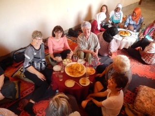 Bev, Ilse, Isabelle, lunch at the cooperative, Morocco Textile Tour