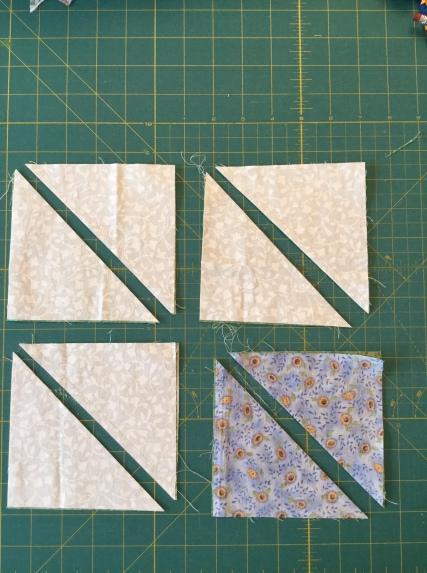 After seaming, cut along diagonal