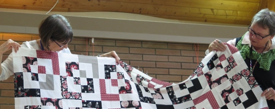 Lorna and Anne ... So this is what the front of Paul's quilt looks like!