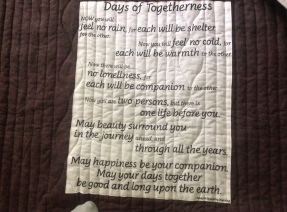 Apache wedding blessing on quilt back, from a Calgary quilt shop