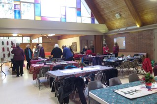 setting up for the Christmas luncheon