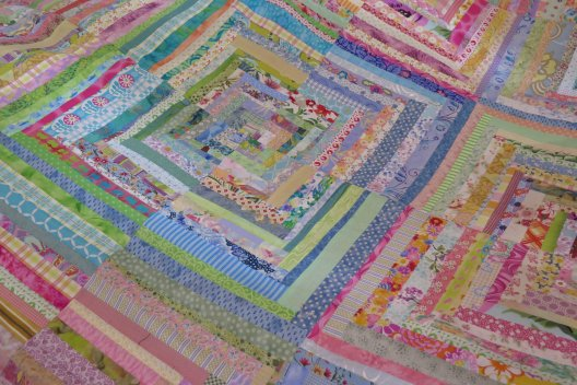 detail - narrow strips in a larger quilt