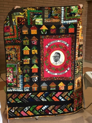 Anne W's quilt with fabrics from Africa