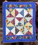 Comm Quilt blue sash floral Feb18
